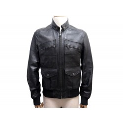 NEUF VESTE DOLCE & GABBANA BLOUSON 50 IT 48 FR M CUIR NOIR LEATHER JACKET 1850€