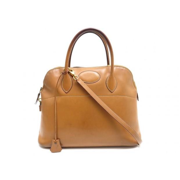 VINTAGE SAC A MAIN HERMES BOLIDE 35 CM EN CUIR GOLD BANDOULIERE BAG PURSE 5000€