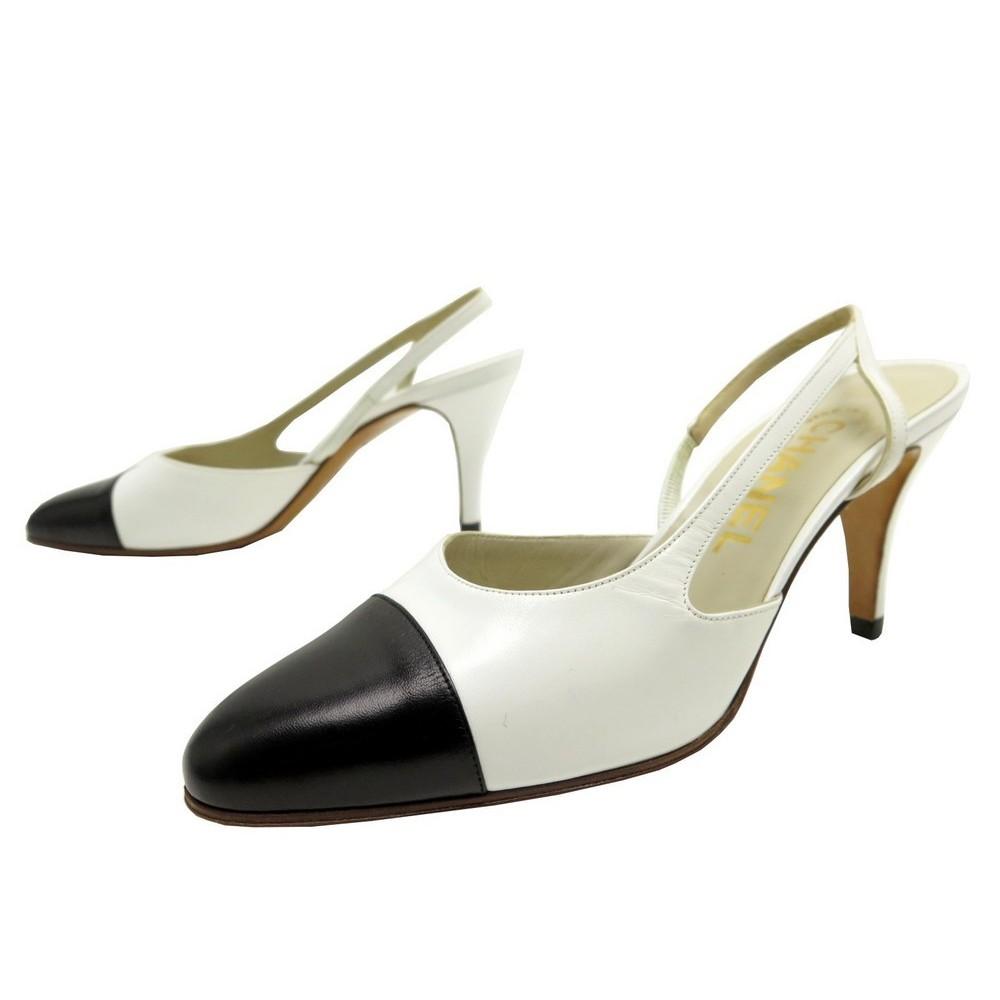 Chaussures Chanel 36 5 Escarpins En Cuir Bicolore