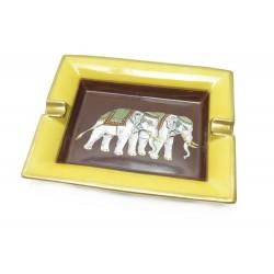 NEUF CENDRIER HERMES ELEPHANTS VIDE POCHE PORCELAINE JAUNE + BOITE ASHTRAY 465€
