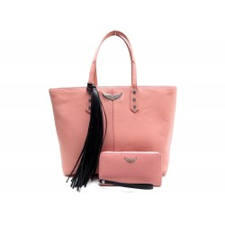 NEUF SAC A MAIN ZADIG & VOLTAIRE MICK GRAINED CUIR ROSE + PORTEFEUILLE BAG 545€