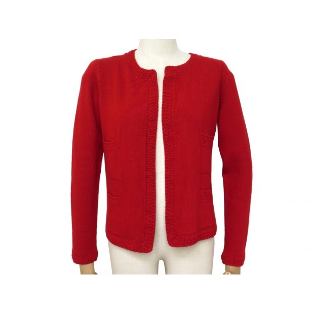 GILET CHANEL CACHEMIRE ROUGE
