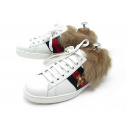 NEUF CHAUSSURES GUCCI ACE 498199 5 IT 40 FR BASKETS FOURREES CUIR SNEAKERS 690€