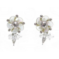 BOUCLES D'OREILLES CHRISTIAN DIOR FLEURS ET STRASS METAL ARGENTE EARRINGS 310€