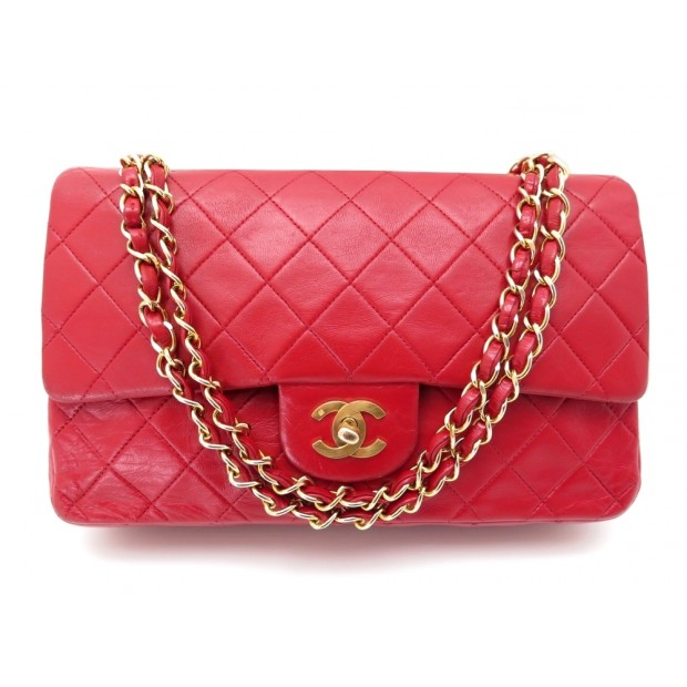 VINTAGE SAC A MAIN CHANEL TIMELESS CUIR ROUGE