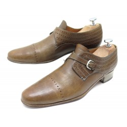 CHAUSSURES HESCHUNG 7 41 MOCASSINS A BOUCLE EN CUIR MARRON LEATHER LOAFERS 475€