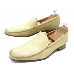 CHAUSSURES HERMES H 40 MOCASSINS EN CUIR BEIGE LEATHER LOAFERS SHOES 670€