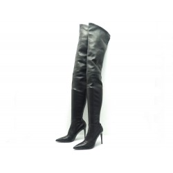 NEUF CHAUSSURES BOTTES CHANEL CUISSARDES CUIR MARRON FONCE