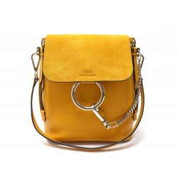 NEUF SAC A DOS CHLOE FAYE MEDIUM EN CUIR ET DAIM JAUNE LEATHER BACKPACK 1490€