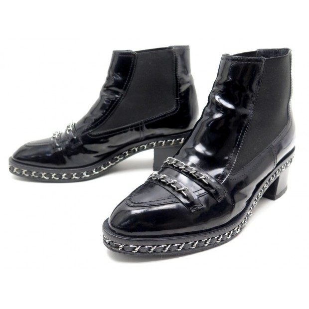 CHAUSSURES CHANEL G29587 41 CHAINE ENTRELACEE BOTTINES A TALONS CUIR BOOTS 1100€
