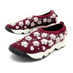 CHAUSSURES DIOR FUSION 36 BASKETS TOILE BORDEAUX ET STRASS FLOWERS SNEAKERS 890€