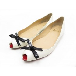 CHAUSSURES CHRISTIAN LOUBOUTIN BALLERINES 37 EN CUIR BLANC LEATHER SHOES 959€