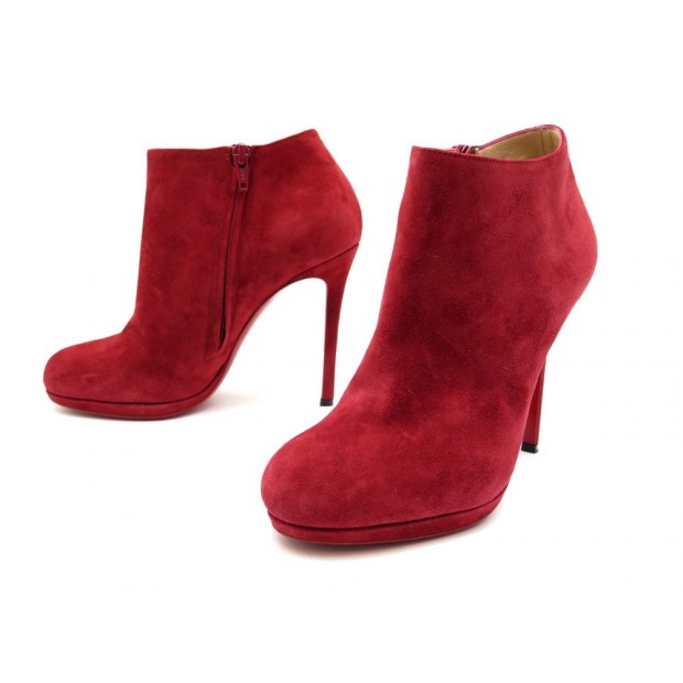 NEUF CHAUSSURES CHRISTIAN LOUBOUTIN BOTTINES BELLE 37.5 DAIM ROUGE BOOTS 725€