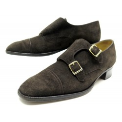 CHAUSSURES JOHN LOBB 39 MOCASSINS A TALONS DAIM MARRON BROWN SUEDE LOAFERS 1225€