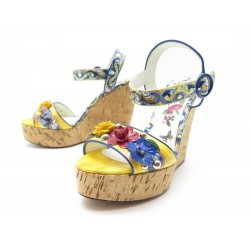 CHAUSSURES DOLCE & GABBANA SANDALES MAJOLICA 38 IT 39 FR CUIR VERNIS SHOES 795€