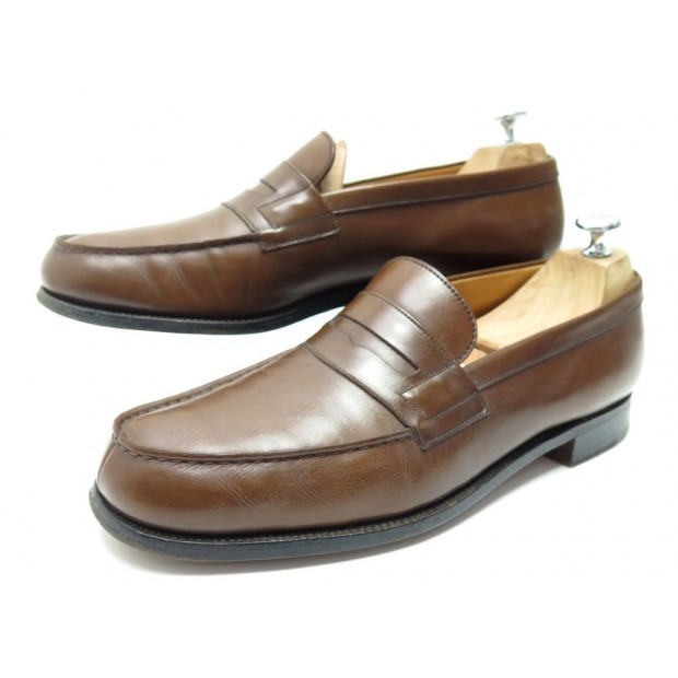 CHAUSSURES JM WESTON 180 MOCASSINS 9C 43 CUIR MARRON BROWN LEATHER LOAFERS 610€