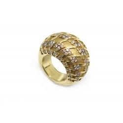 BAGUE DIOR DEMI JONC T49 EN OR JAUNE 18K 25.5GR & 104 DIAMANTS + BOITE GOLD RING