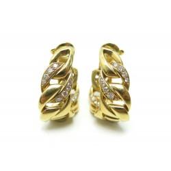 BOUCLES D'OREILLES CARTIER BERGAME OR JAUNE 18K & DIAMANTS + ECRIN GOLD EARRINGS