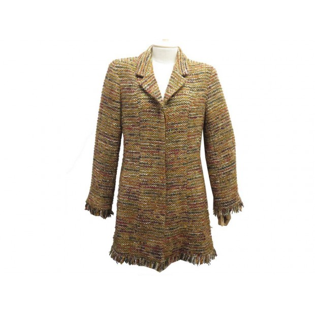 MANTEAU MI LONG CHANEL P21982 L 44 EN TWEED LAINE MARRON VESTE JACKET COAT 4200€