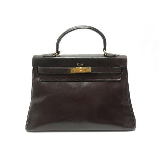 VINTAGE SAC A MAIN HERMES KELLY 32 CM EN CUIR BOX MARRON HAND BAG PURSE 7700€