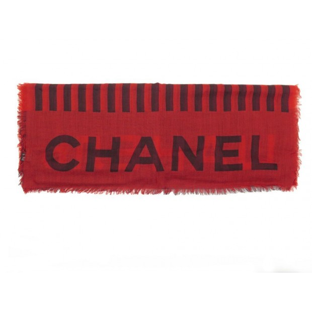 NEUF ETOLE CHANEL COLLECTION PARIS MOSCOU EN CACHEMIRE ROUGE + BOITE SCARF 990€