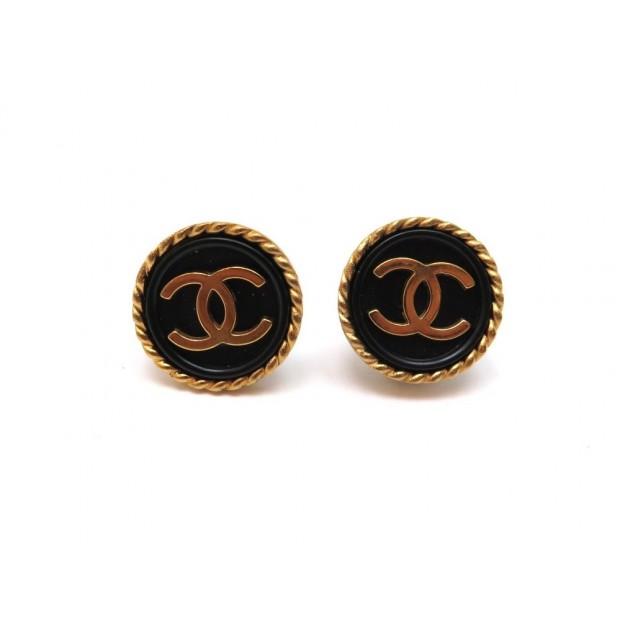 BOUCLES D'OREILLES CHANEL LOGO CC METAL DORE ET NOIR GOLDEN EARRINGS 420€