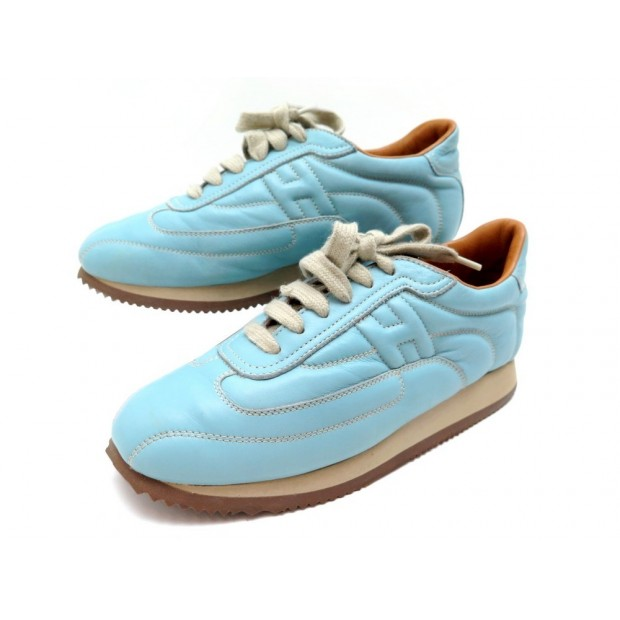CHAUSSURES HERMES QUICK 36.5 BASKETS CUIR BLEU BLUE LEATHER SNEAKERS SHOES 670€