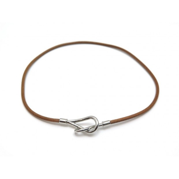 NEUF COLLIER HERMES JUMBO 53 CM CUIR MARRON FINITION PALLADIE NEW NECKLACE 261€