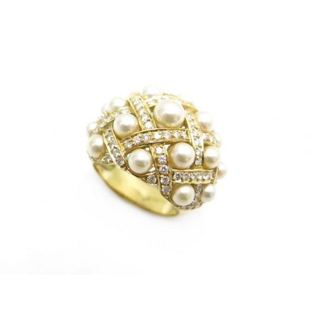 BAGUE T 53 EN OR JAUNE 18K 16 GR 116 DIAMANTS 1.28CT & PERLES GOLD DIAMONDS RING