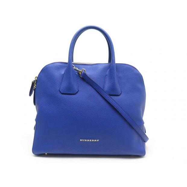 SAC A MAIN BURBERRY EN CUIR GRAINE BLEU BANDOULIERE BLUE LEATHER HAND BAG 980€