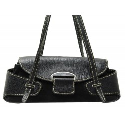 SAC A MAIN TOD'S PORTE EPAULE EN DAIM ET CUIR NOIR BLACK LEATHER HAND BAG 990€