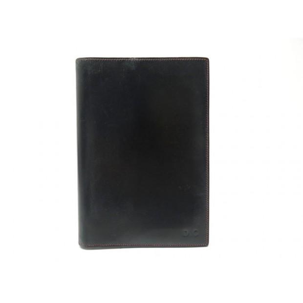 VINTAGE PORTE AGENDA HERMES COUVERTURE GM EN CUIR NOIR BLACK DIARY COVER 324€