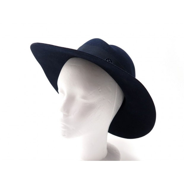 CHAPEAU MAISON MICHEL VIRGINIE M 55 CM EN FEUTRE BLEU MARINE BLUE FELT HAT 530€