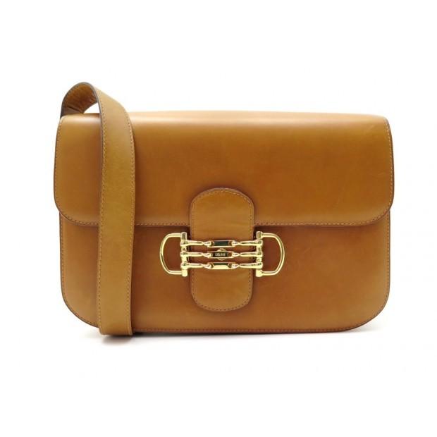 VINTAGE RARE SAC A MAIN CELINE CLASSIC EN CUIR BOX FAUVE BANDOULIERE HAND BAG
