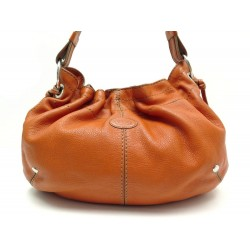 SAC A MAIN TOD'S PORTE EPAULE EN CUIR GRAINE ORANGE LEATHER HANDBAG 995€