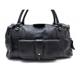 SAC A MAIN TOD'S PORTE EPAULE EN CUIR GRAINE NOIR BLACK LEATHER HANDBAG 1100€