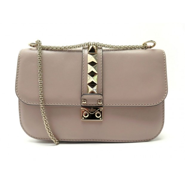 SAC A MAIN VALENTINO GLAM LOCK MEDIUM MM BANDOULIERE CUIR TAUPE