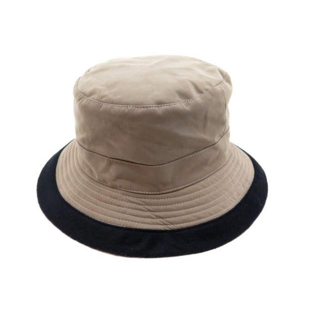 NEUF CHAPEAU HERMES BOB EN POLYESTER TAUPE TAILLE 58 MIXTE NEW HAT 305€