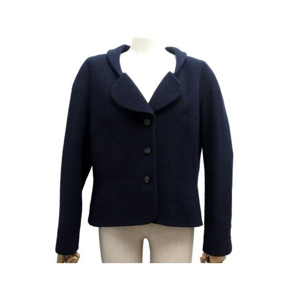 NEUF VESTE CHANEL P42610 48 XL EN LAINE BLEU MARINE NAVY BLUE WOOL JACKET 4200€