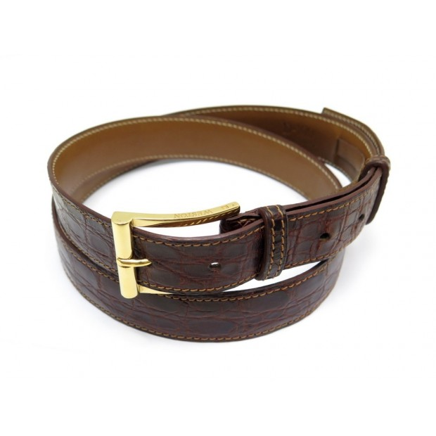 CEINTURE JM WESTON CUIR CROCO MARRON T100