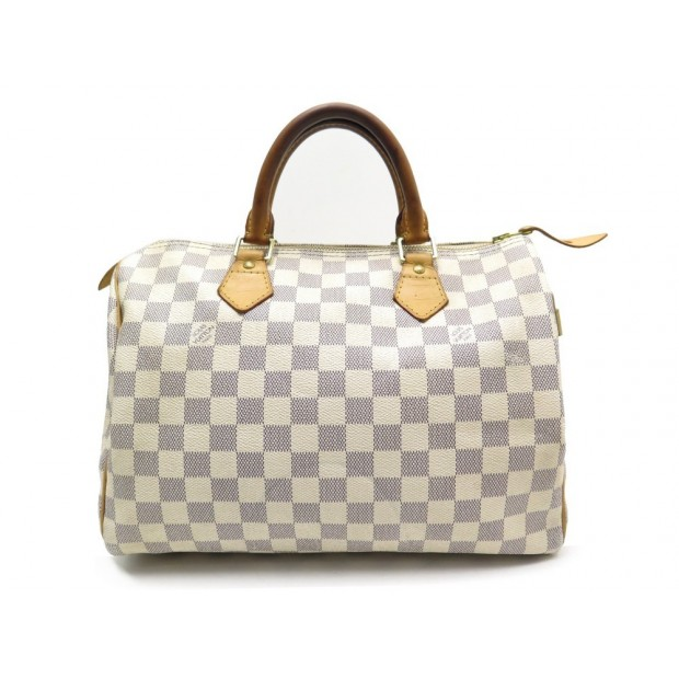 SAC A MAIN LOUIS VUITTON SPEEDY 30 N41370 TOILE DAMIER AZUR CANVAS HANDBAG 910€