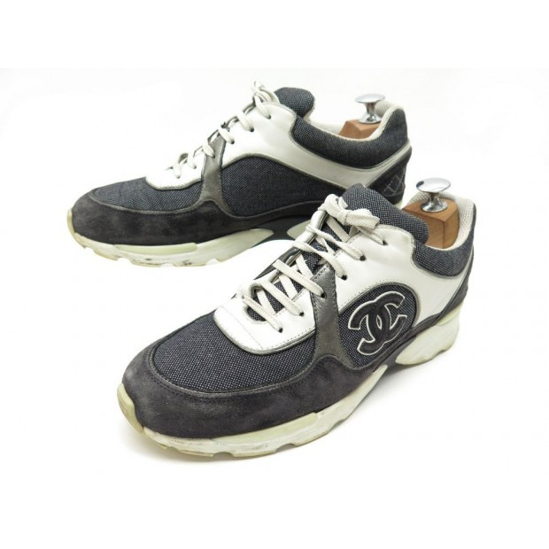 CHAUSSURES CHANEL G26582 40.5 BASKETS TOILE CUIR NOIR BLACK SNEAKERS SHOES 950€
