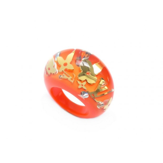 NEUF BAGUE LOUIS VUITTON INCLUSION MONOGRAM LV TAILLE 53 RESINE ORANGE RING 310€