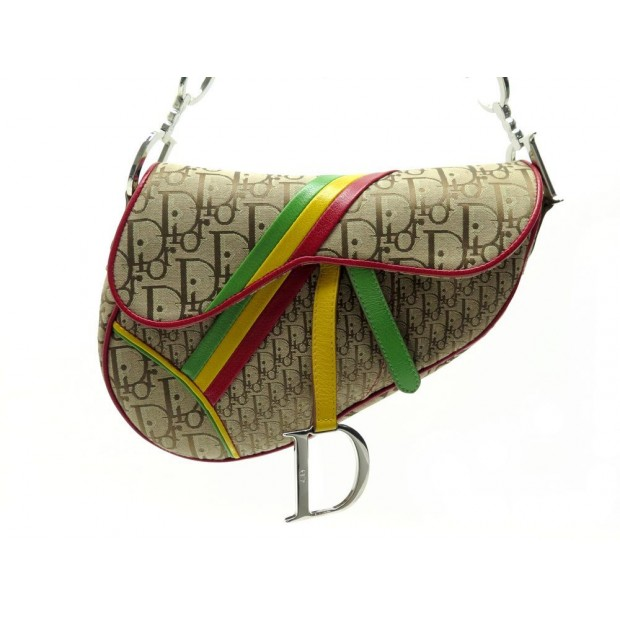 NEUF SAC A MAIN CHRISTIAN DIOR SADDLE RASTA TOILE OBLIQUE CANVAS HANDBAG 2730€