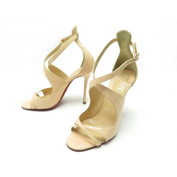 CHAUSSURES CHRISTIAN LOUBOUTIN 38.5 SANDALES A TALONS CUIR VERNIS NUDE PUMP 815€