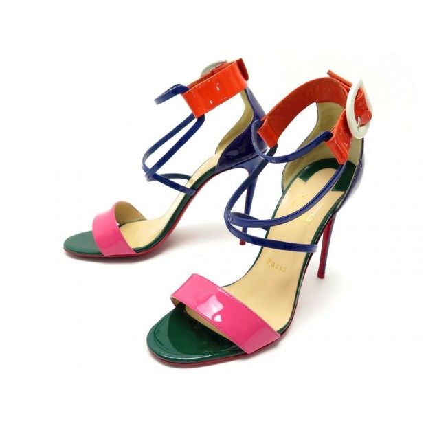 CHAUSSURES CHRISTIAN LOUBOUTIN 39 SANDALES A TALONS CUIR VERNIS MULTICOLORE 815€
