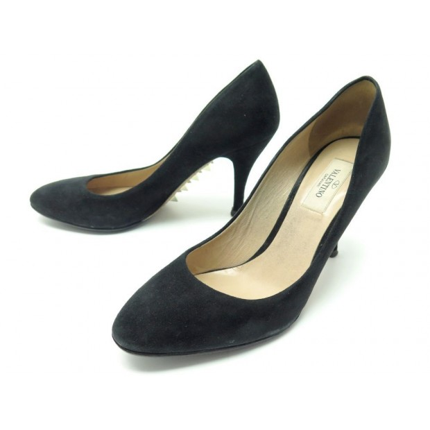 CHAUSSURES VALENTINO 37.5 IT 38.5 FR ESCARPINS DAIM VEAU VELOURS NOIR SHOES 790€
