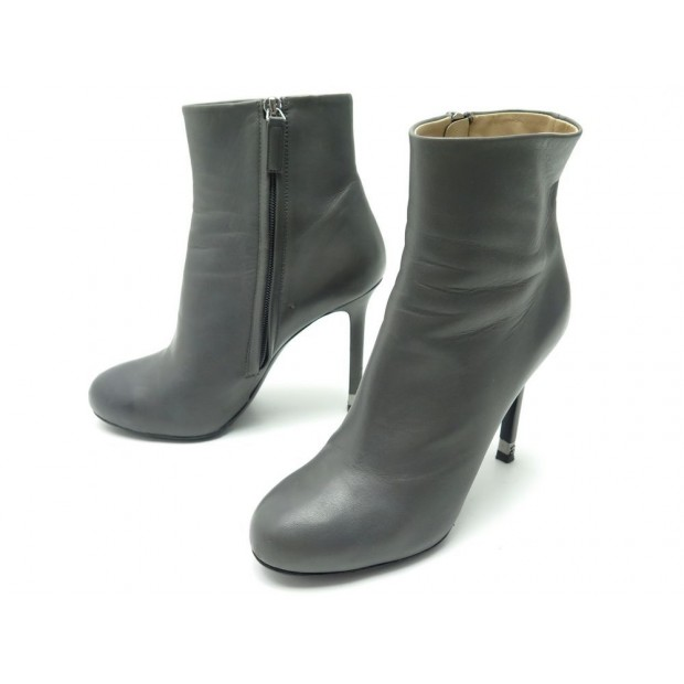 CHAUSSURES CHANEL G31301 39 BOTTINES A TALONS CUIR GRIS LEATHER BOOTS SHOES 990€