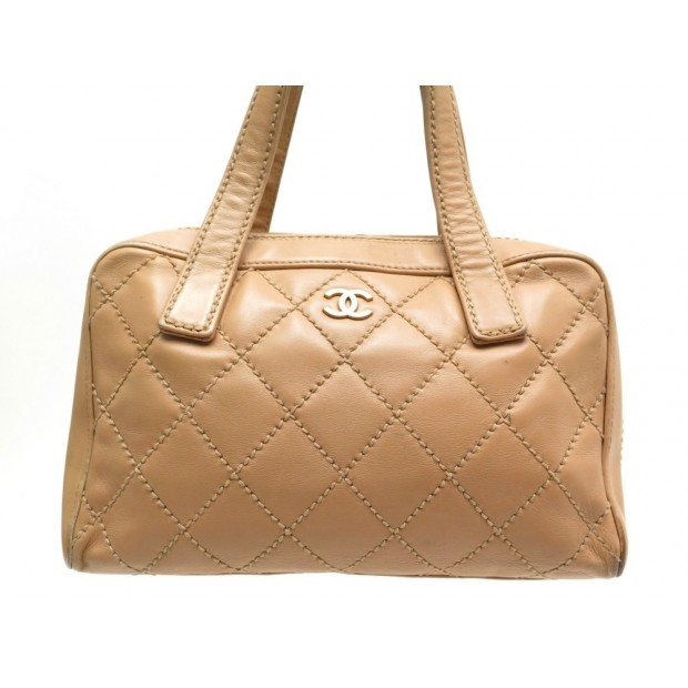 SAC A MAIN CHANEL BOWLING SURPIQUE CUIR MATELASSE BOWLER QUILTED HAND BAG 3800€