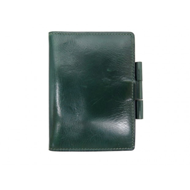 PORTE AGENDA HERMES COUVERTURE CUIR VERT GREEN LEATHER COVER DIARY HOLDER 435€